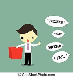 ビジネスマン, チャンス, 取得, 成功