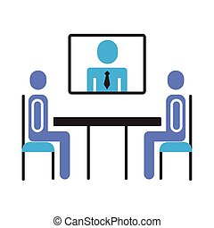 ビジネスマン, チームワーク, テレコンファレンス, スタイル, 平ら, 数字, テーブル