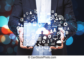 ビジネスマン, デジタルビジネス, インターフェイス, タブレット, 保有物
