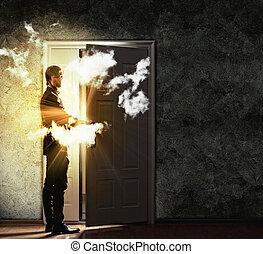 ビジネスマン, ドア, 若い, 開始