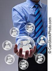 ビジネスマン, ネットワーキング, 使うこと, 社会