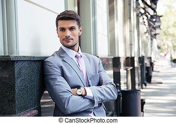 ビジネスマン, ハンサム, 折られた 腕, 肖像画