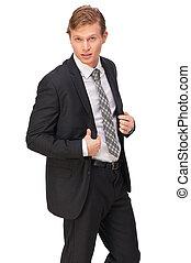 ビジネスマン, ハンサム, 黒いスーツ