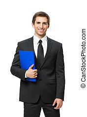 ビジネスマン, フォルダー, 半分長さ, 肖像画