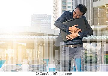 ビジネスマン, ブリーフケース, 強力, 抱き合う