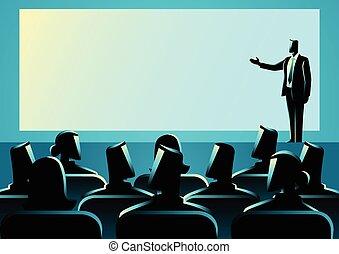 ビジネスマン, プレゼンテーションを行なう, 上に, 大きいスクリーン