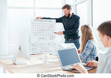 ビジネスマン, プレゼント, 新しい, コマーシャル, プロジェクト, 微笑