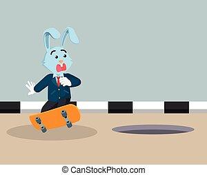 ビジネスマン, ベクトル, うさぎ, スケートボード, 遊び