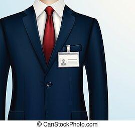 ビジネスマン, ホールダー, 現実的, id バッジ