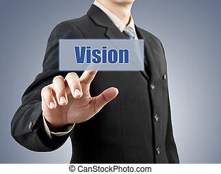 ビジネスマン, ボタンの押すこと, ビジョン, 手