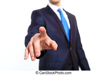ビジネスマン, ボタンを押すこと, ∥で∥, 彼の, 指