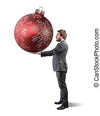 ビジネスマン, ボール, クリスマス, 大きい