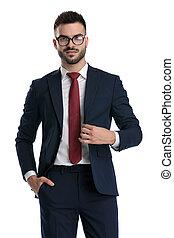 ビジネスマン, ポケット, 地位, ジャケット, 固定, 手, 幸せ