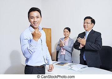 ビジネスマン, ポンプ, 握りこぶし, 作成