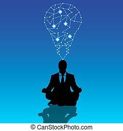ビジネスマン, マネージャー, ポーズを取りなさい, ヨガ, 瞑想しなさい