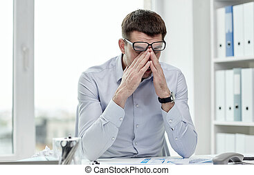 ビジネスマン, メガネ, オフィス, 疲れた