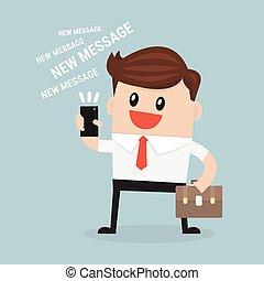 ビジネスマン, メッセージ, 読書, テキスト