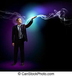 ビジネスマン, ライト, 照ること