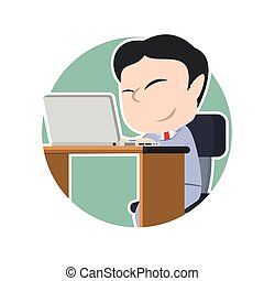 ビジネスマン, ラップトップ, 円, アジア人