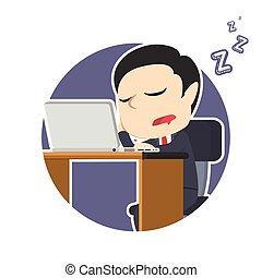 ビジネスマン, ラップトップ, 円, 睡眠
