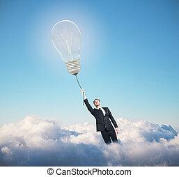 ビジネスマン, ランプ, 飛行