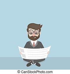 ビジネスマン, リラックスしなさい, そして, 読書, newsp