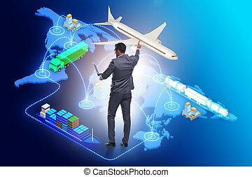 ビジネスマン, ロジスティクス, 概念, 世界的である