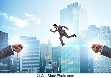 ビジネスマン, ロープ, しっかりと, 歩くこと