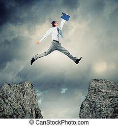 ビジネスマン, 上に, 跳躍, ギャップ