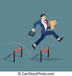 ビジネスマン, 上に, 障害, 跳躍, カップ