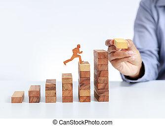 ビジネスマン, 上昇, ゴール, 階段, の上