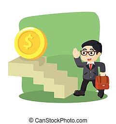 ビジネスマン, 上昇, 階段