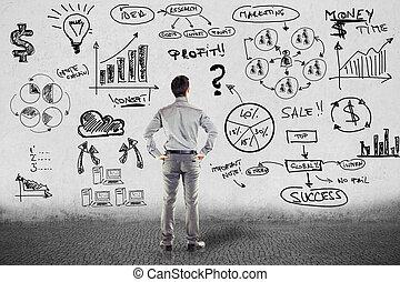 ビジネスマン, 中に, スーツ, そして, ビジネス計画, 上に, グランジ, 壁