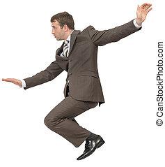 ビジネスマン, 中に, スーツ, モデル, 上に, 空 スペース