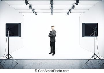 ビジネスマン, 中に, 写真の スタジオ