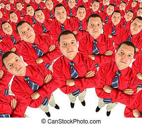 ビジネスマン, 中に, 赤いシャツ, ∥で∥, 彼の, 手, 交差させる, 半円形, コラージュ
