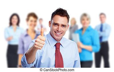 ビジネスマン, 人々。, グループ, 幸せ