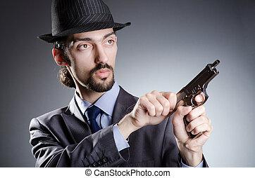 ビジネスマン, 人, 銃, 手