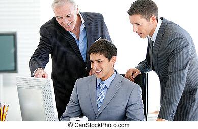 ビジネスマン, 仕事, ポジティブ, コンピュータ