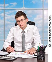 ビジネスマン, 仕事, 中に, オフィス