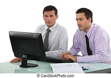 ビジネスマン, 仕事, 2, 一緒に, 若い