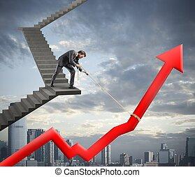 ビジネスマン, 会社, 助け, 統計値