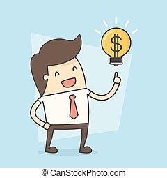 ビジネスマン, 作りなさい, お金。, 考え