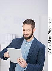 ビジネスマン, 使うこと, タブレット, デジタル