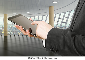 ビジネスマン, 使うこと, デジタルタブレット, 中に, 空 部屋