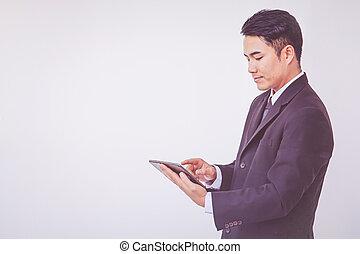 ビジネスマン, 使うこと, 幸せ, タブレット, デジタル