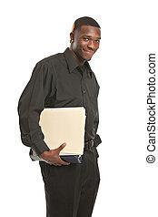 ビジネスマン, 保有物のクリップボード, 微笑, 隔離された