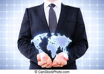 ビジネスマン, 保有物, デジタル世界, 地図