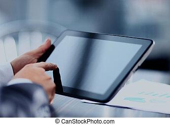 ビジネスマン, 保有物, デジタル, tablet.