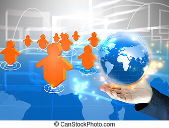 ビジネスマン, 保有物, 世界, .technology, 概念